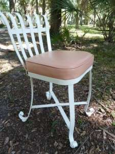 Vtg Fancy White Rolled Wrought Iron Patio Set Table 2 Swivel Chair 2