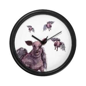 flying piggie wall clock Art Wall Clock by