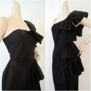 Vintage Ultimate 80s Black Ruffled Asymmetrical Party Dress Gown S XS