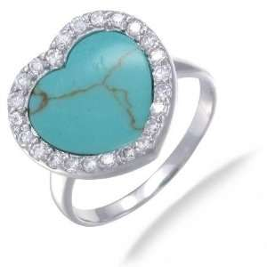15MM Heart Shaped Imitated Blue Turquoise Ring In Sterling