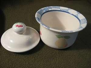Pfaltzgraff HOPSCOTCH Blue Check Fruits Pear Cherries Peach Sugar Bowl