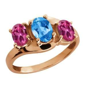 Oval Swiss Blue Topaz and Pink Tourmaline 18k Rose Gold Ring Jewelry