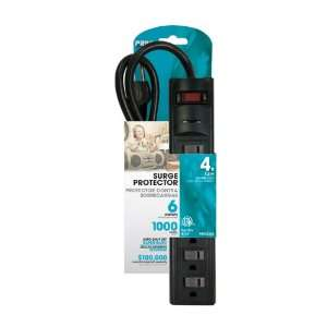 Prime PB802225 6 Outlet 1000 Joule Surge Protector, 4 foot