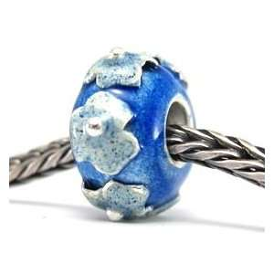 Blue 2 Tone Flowers Sterling Silver European Style Charm Bead