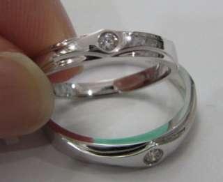 Pair Solid 18K White Gold Diamond Wedding Band Ring