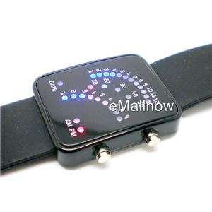 Black Band 29 Blue and Red LED Sector Pattern LED Wrist Watch