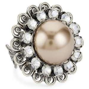 Liz Palacios Perlas Crystal And Pearl Ring Jewelry