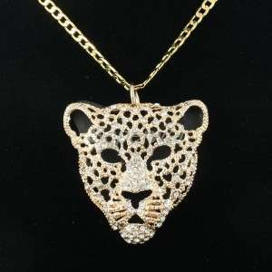 Clear Swarovski Crystal Animal Panther Leopard Necklace Pendant