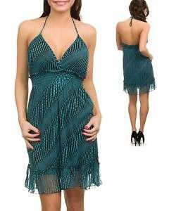 WOMANS PLUS SIZE FLIRTY TEAL & BLACK HALTER DRESS 1XL