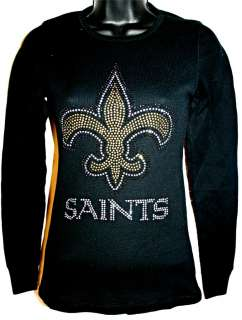 New Orleans Saints Bling Womens Thermal Top SM 3X NEW