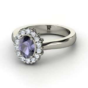 Princess Kate Ring, Oval Iolite 14K White Gold Ring with