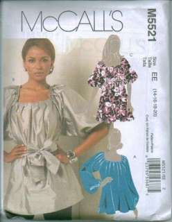 OOP McCalls Sewing Pattern Blouse Tops Shirts Misses Plus Size 14 16