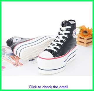 Women Canvas Wedge High Heels High Top Sneakers Boots Shoes Black US 8