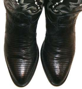 Vintage TONY LAMA LEATHER & EXOTIC REAL TEJU LIZARD COWBOY BOOTS MENS