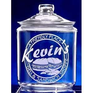 Personalized Deli Theme Etched Glass Cookie Jar Kitchen