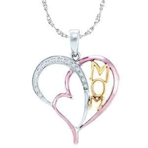 Rose / Pink Gold Over Sterling Silver Diamond Mom Heart