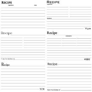 Black and White Recipe Cards 12 x 12 Cardstock Home