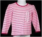 KIDS KORNER Girls PINK WHITE Striped SHIRT size 2T 2 T Long Sleeve