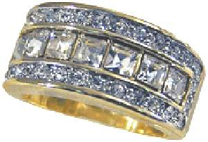 18kt Gold gp Ladies Princess Cut and Round Cut Crystals Ring Sz 5 10