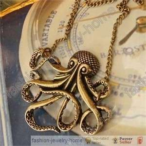 Hot Retro Bronze Lovely Octopus Pendant Necklace