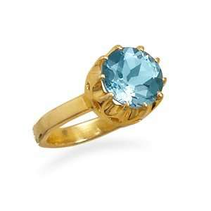 Sterling Silver 14 Karat Gold Plated Blue Topaz Ring