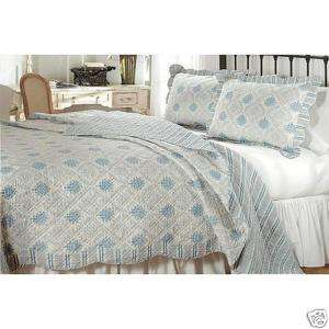 SHABBY FRENCH COUNTRY CHIC Medallion QUILT SET Blue King Scalloped