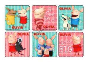 12 OLIVIA THE PIG Stickers Kids Birthday Party Goody Loot Bag Favor