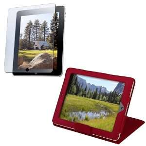 For Apple® iPad® Red Leather Case W/ Kick Stand + Lcd