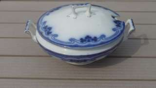 ANTIQUE ENGLISH W.H.GRINDLEY FLOW BLUE ROUND COVERED TUREEN  IDRIS