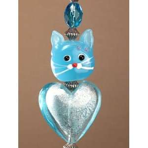 with Cats Powder Blue Heart Glass Ceiling Fan Pull