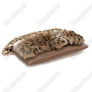 Korean Female Pure Rabbit Fur Sexy Leopard Print Handbag Vintage PU