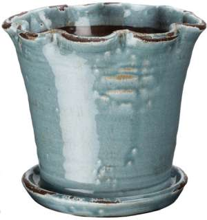 This pair of blue and brown ceramic flower pots make a beautiful