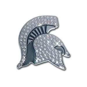 Michigan State University Spartan Head Austrian Crystals & Chrome NCAA