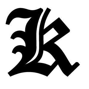 Old English Lettering Letter K White Decal: Automotive