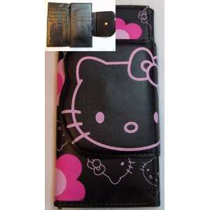 Hello Kitty Black and Pink Flower Clutch Wallet Toys
