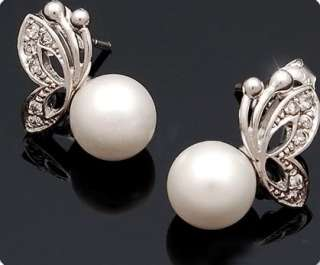 Women Lady Girl Butterfly Imitation Pearl Earrings & Necklace Jewelry