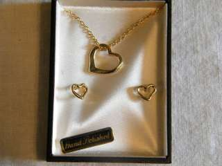 Hand Polished Gold Heart Necklace & Earring Set w Box