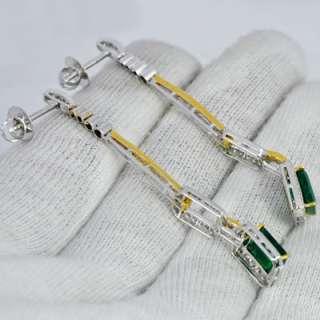 8000 $ price sale 18k Gold Natural Emerald Diamond Ladies Earrings