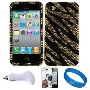 Black Gold Tiger Crystal Hard Case Cover with Rhinestone