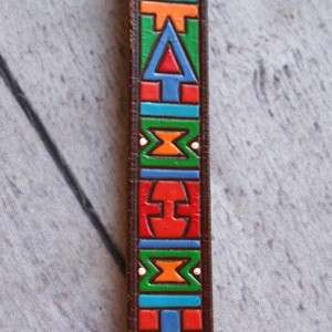 LEATHER BELT S Hand Painted Tooled Mexico Arrow Indian Navajo