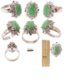 Rare Retro Solid 18K White Gold & Apple Green Jade Ladys Estate Ring