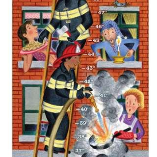 eeBoo Firemen Growth Chart Childrens Wall Decor