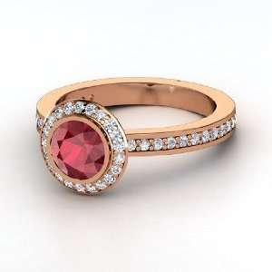 Roxanne Ring, Round Ruby 14K Rose Gold Ring with Diamond