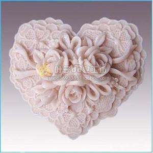 H22 Soft Silicone Handmade Soap Candle Mold Mould   Rose Heart