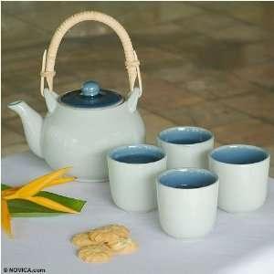 Celadon ceramic tea set, Blue Sky (set for 4) Kitchen