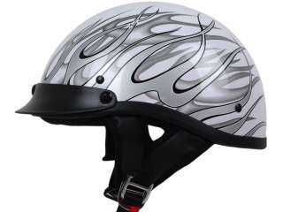 Flame Motorcycle Half Helmet DOT APPROVED Bike Harley Chopper