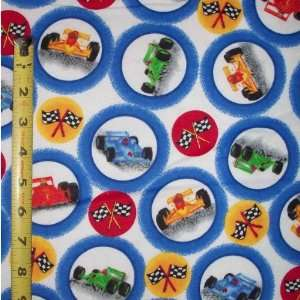 44 Wide Flannel Fabric NASCAR Flag & Race Car Circles