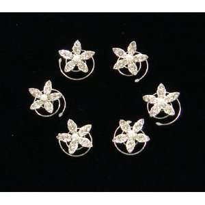 Crystals With Pearl Flower Hair Twist (Pack of 6)