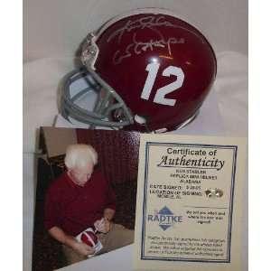 Ken Stabler Alabama Crimson Tide Autographed Mini Helmet with 65