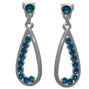 Hally Silver Turquoise Crystal Clip On Earrings Jewelry